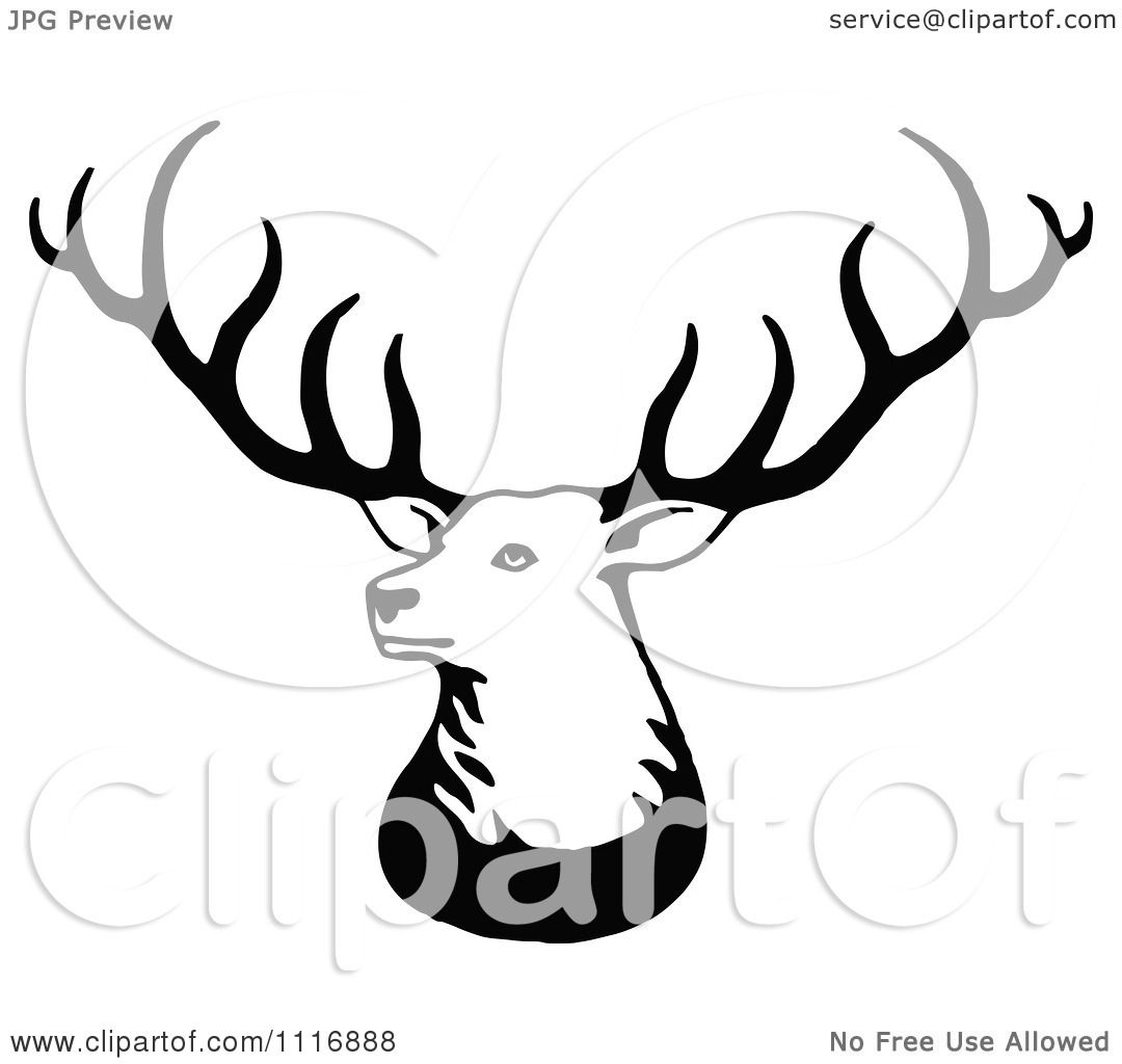 Clipart Of A Retro Vintage Black And White Stag Deer With Big.