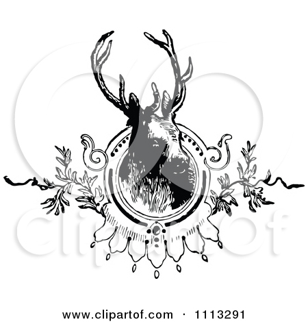 Clipart Vintage Black And White Deer Stag Mounted.