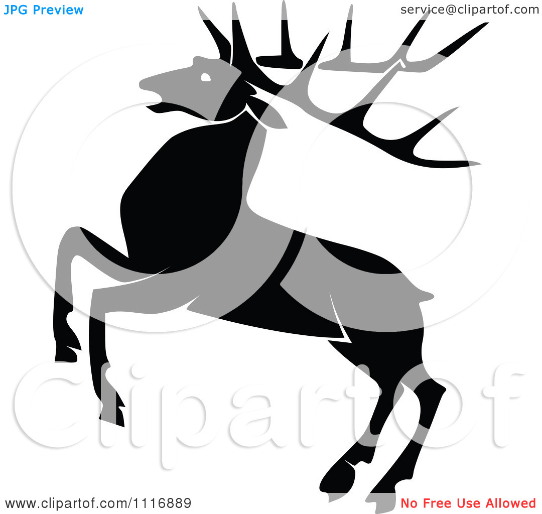 Clipart Of A Retro Vintage Black And White Rearing Stag Deer With.