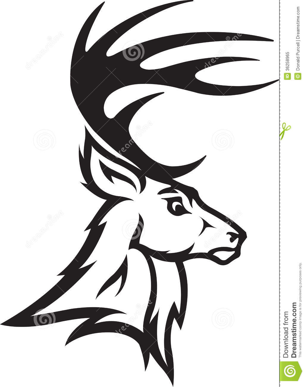 Buck and doe head clipart black and white.