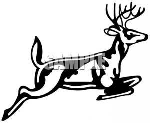 Art Image: Black and White Stag Jumping.