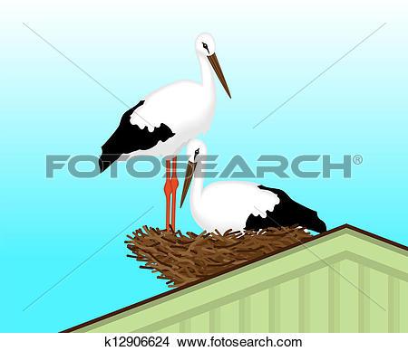 Clipart of Two white storks made %u200B%u200Ba nest k12906624.