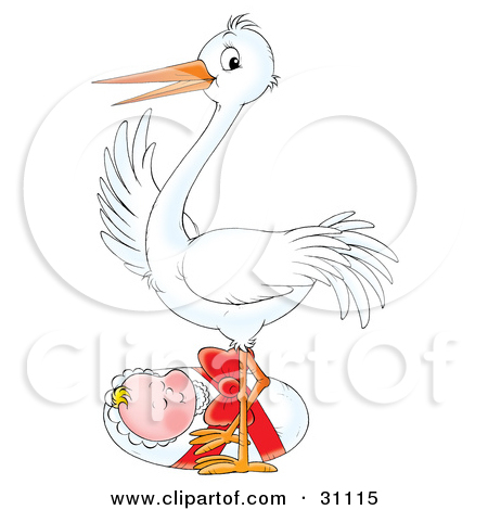 Clipart Illustration of a Happy White Stork Bird Standing In A.