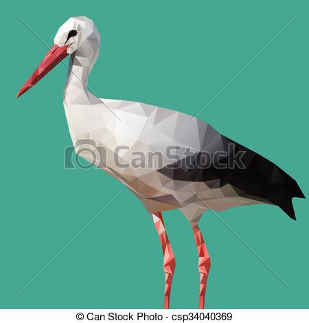 Clip Art Vector of Abstract Low Poly White Stork, (Ciconia ciconia.