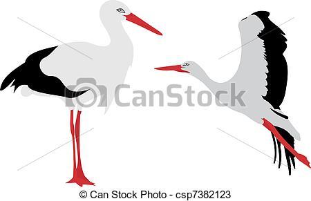 White stork Vector Clipart Royalty Free. 821 White stork clip art.