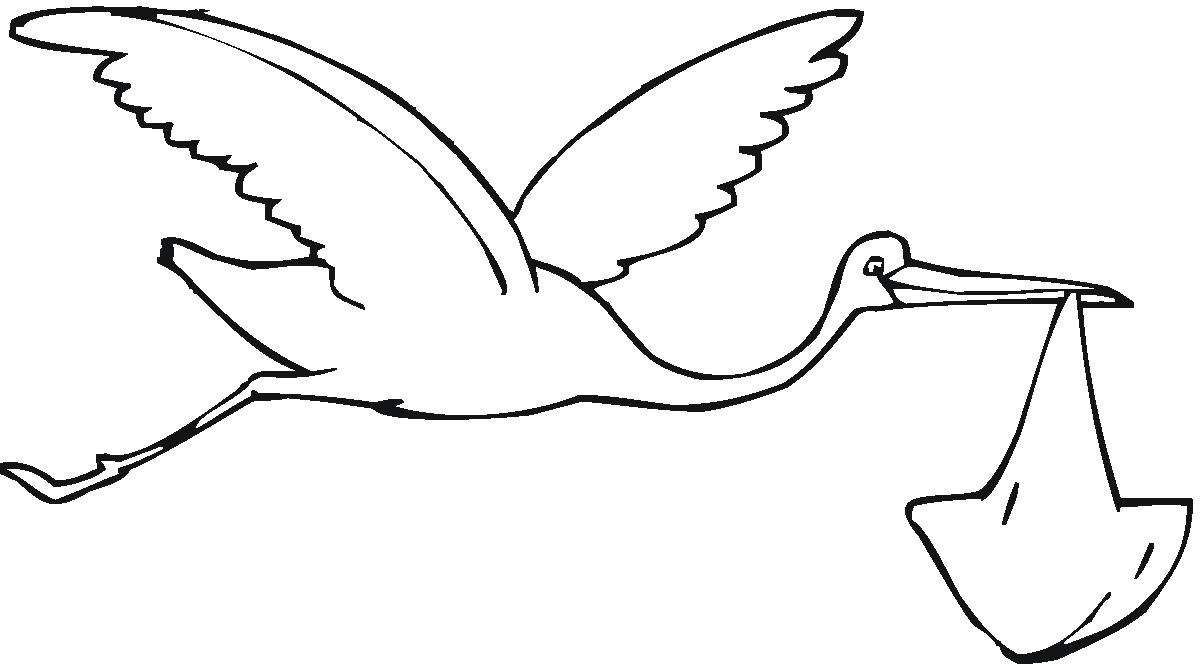 Stork Baby Black And White Clipart.