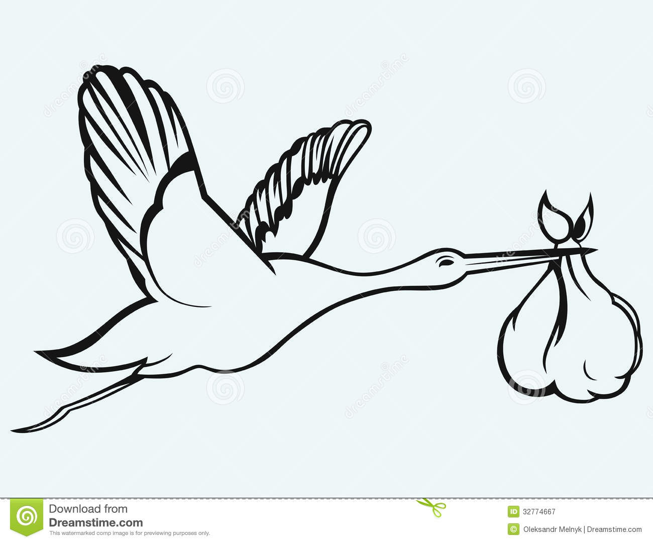 Baby Stork Clipart Black And White Stork With Baby Isolated On.
