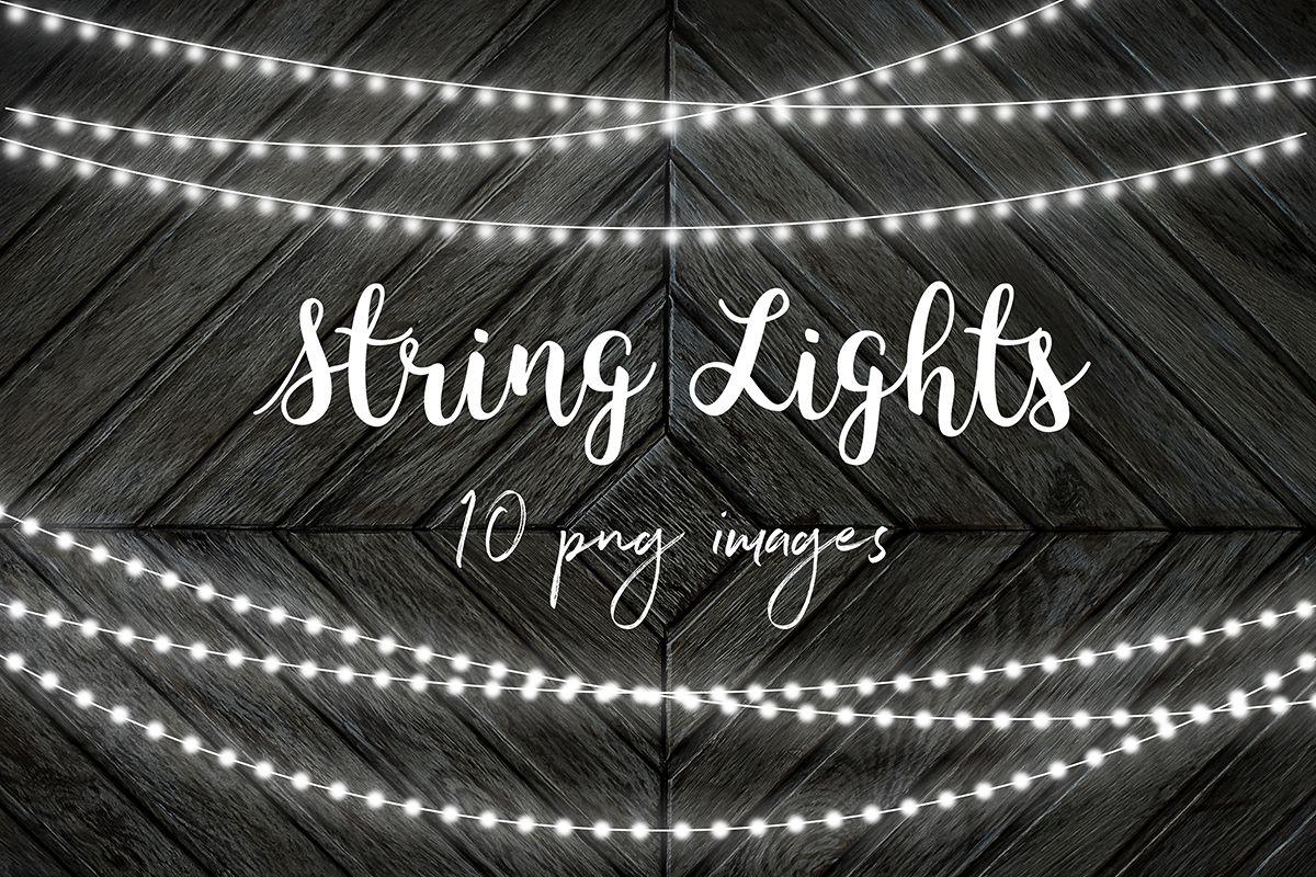 White String Lights Clip Art.