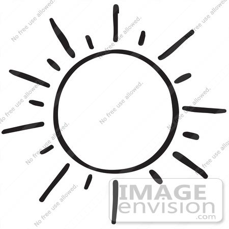 Happy Sun Black And White Clipart.