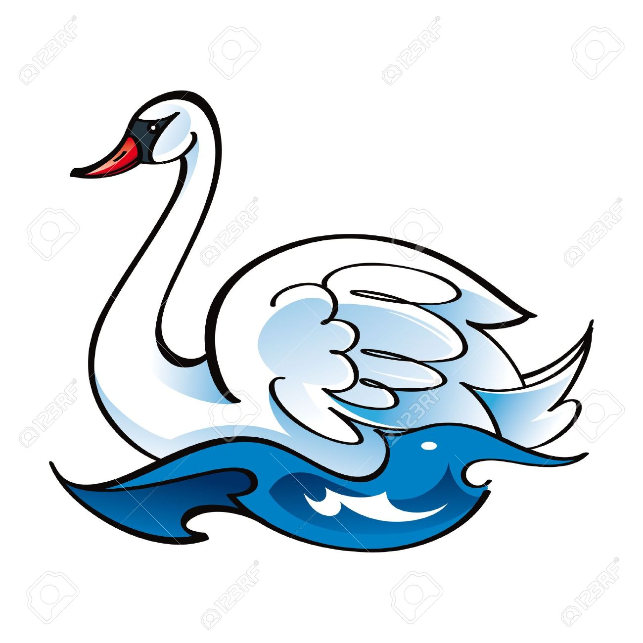 White Swan Bird Fauna Water Lake Swim Feather Royalty Free.