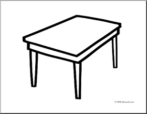 Black And White Clipart Table.