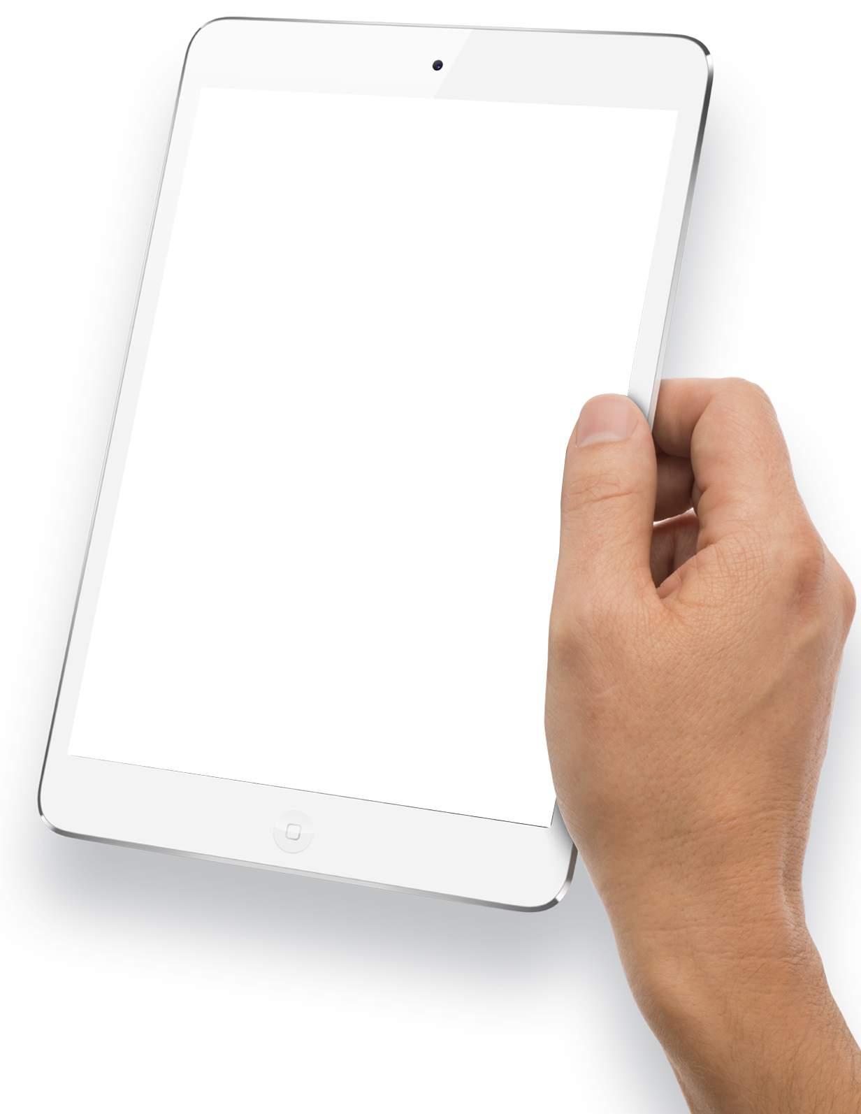 Hand Holding White Tablet PNG Image.