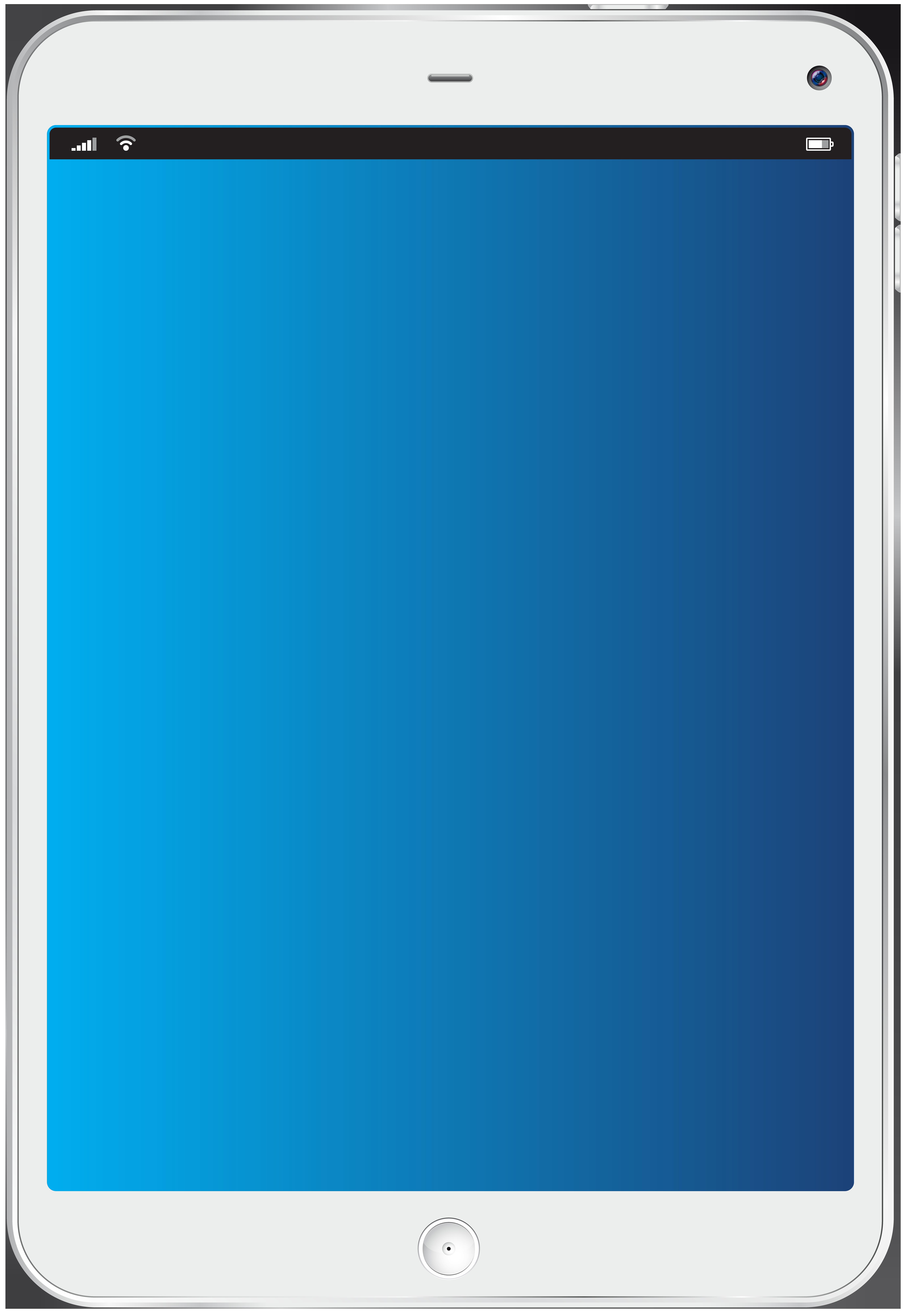 White Tablet Transparent PNG Clip Art Image.