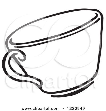 Clipart of a Black and White Tea Cup.