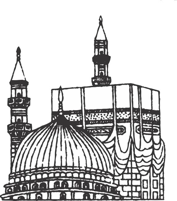 Temple clipart black and white.