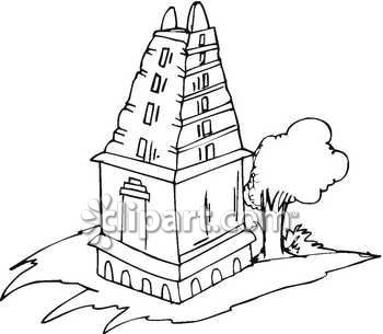 Hindu temple clipart black and white.