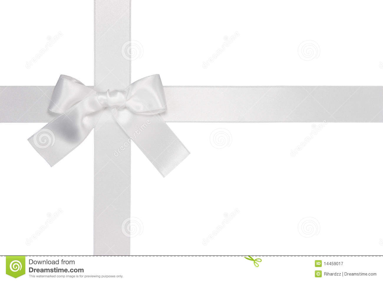 White Cross Ribbon With Bow Stock Image.