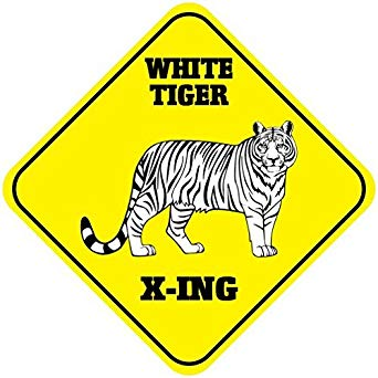 White Tiger Crossing Vinyl Label Decal Sticker 12\