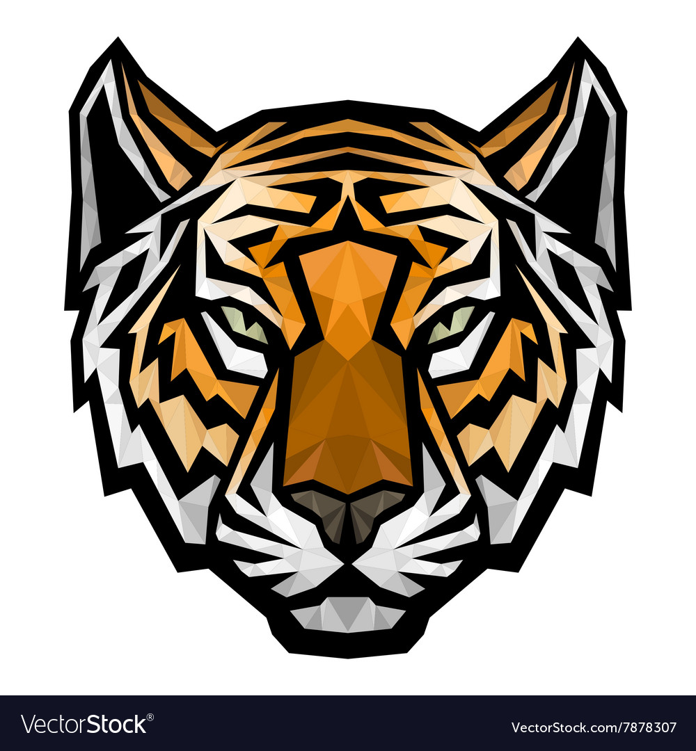 Tiger head logo mascot on white background.
