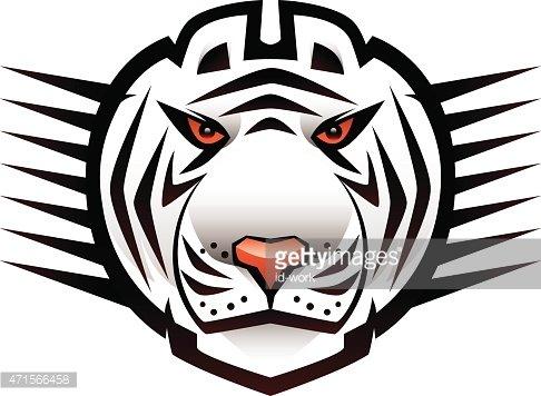 white tiger head mascot Clipart Image.