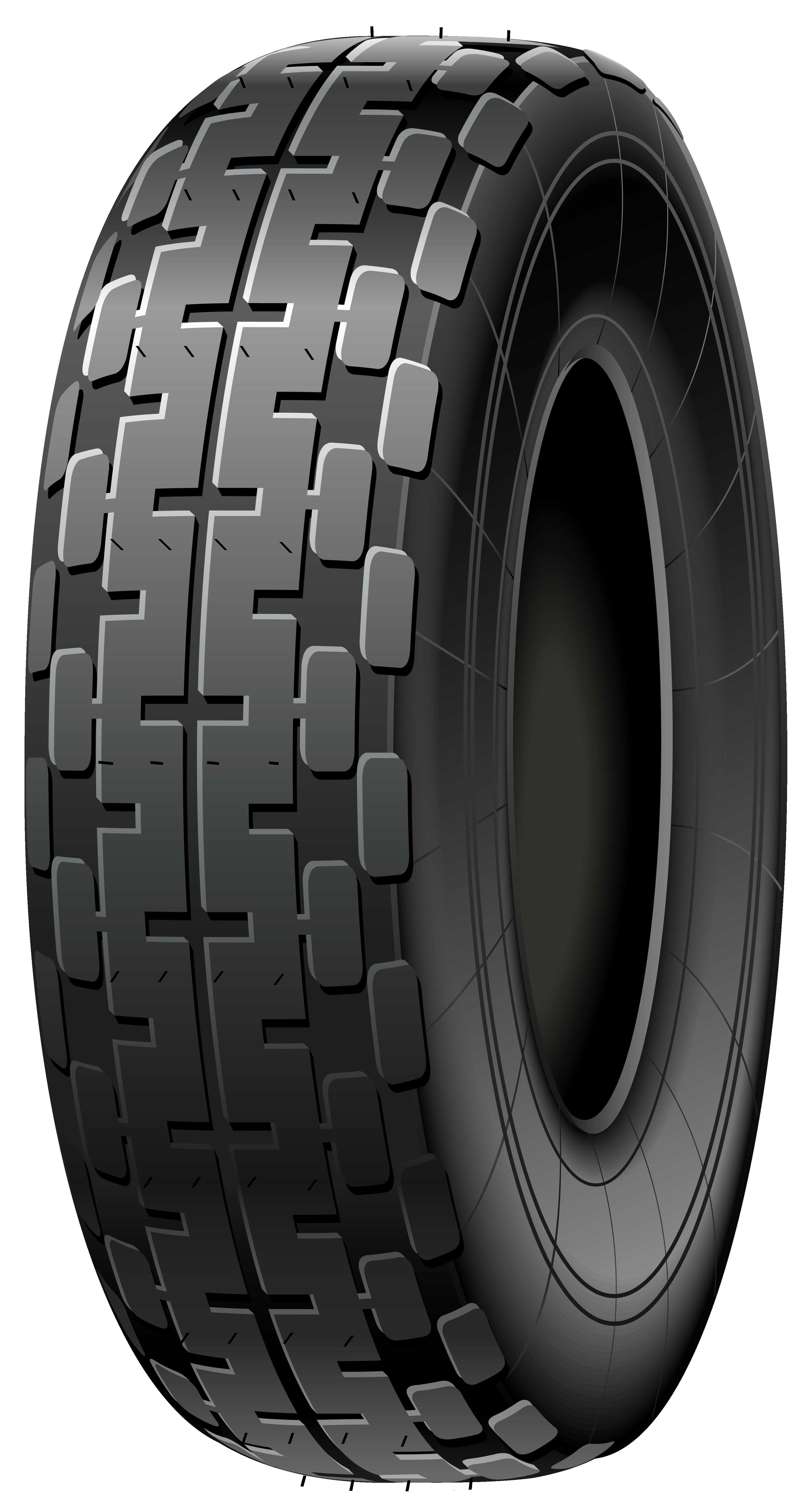 Black Car Tire PNG Clip Art.