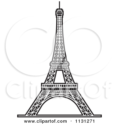 Clipart Of A Black And White Eiffel Tower 1.