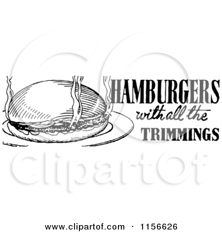 Clipart of a Black and White Retro Hamburger with All the.
