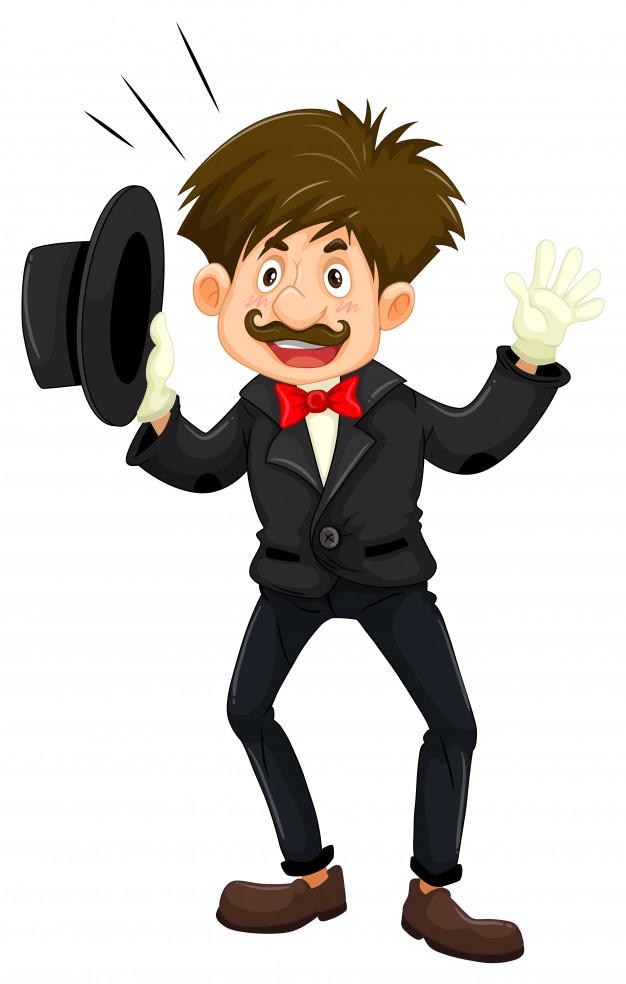 Magician in black tuxedo.