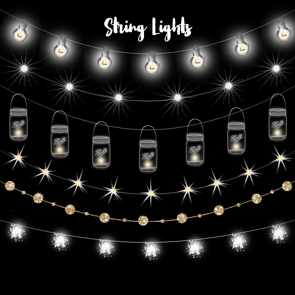 White twinkle lights clipart vector images gallery for Free.