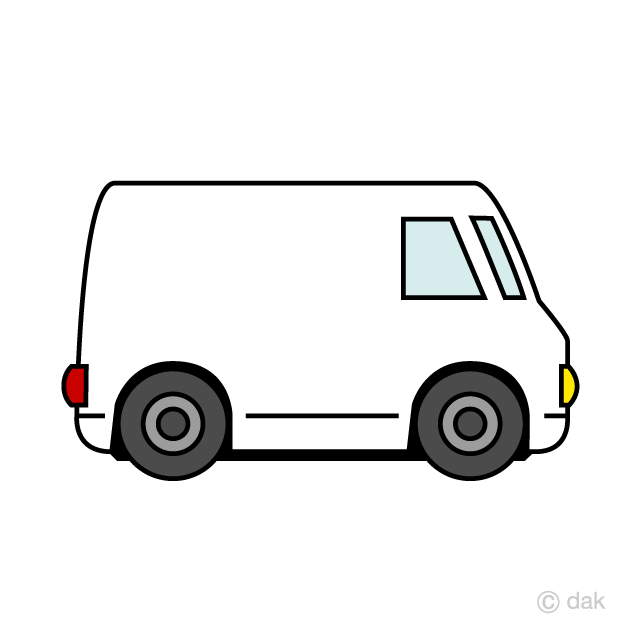 Cute White Cargo Van Clipart Free Picture|Illustoon.