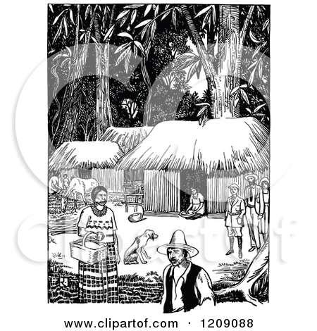 Clipart of a Vintage Black and White Village Street Scene.