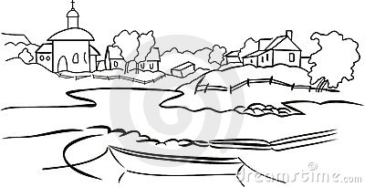 Black And White Village Royalty Free Stock Images.