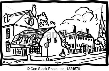 Stock Illustration of Village landscape.
