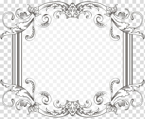 Vintage Frame Three, black line art of a floral frame.