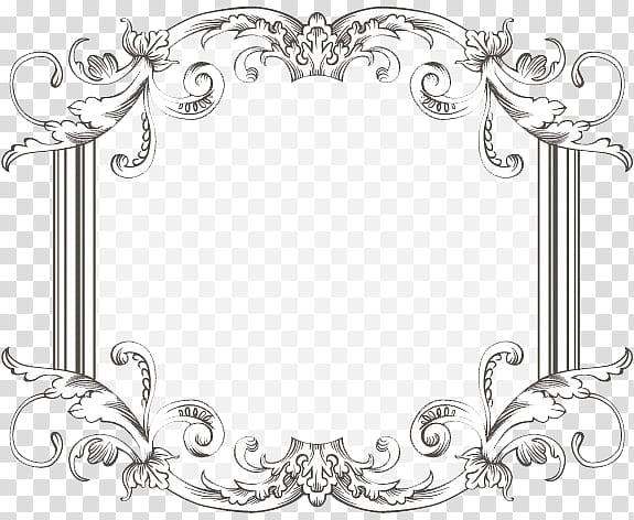 Vintage Frame Three, black line art of a floral frame.