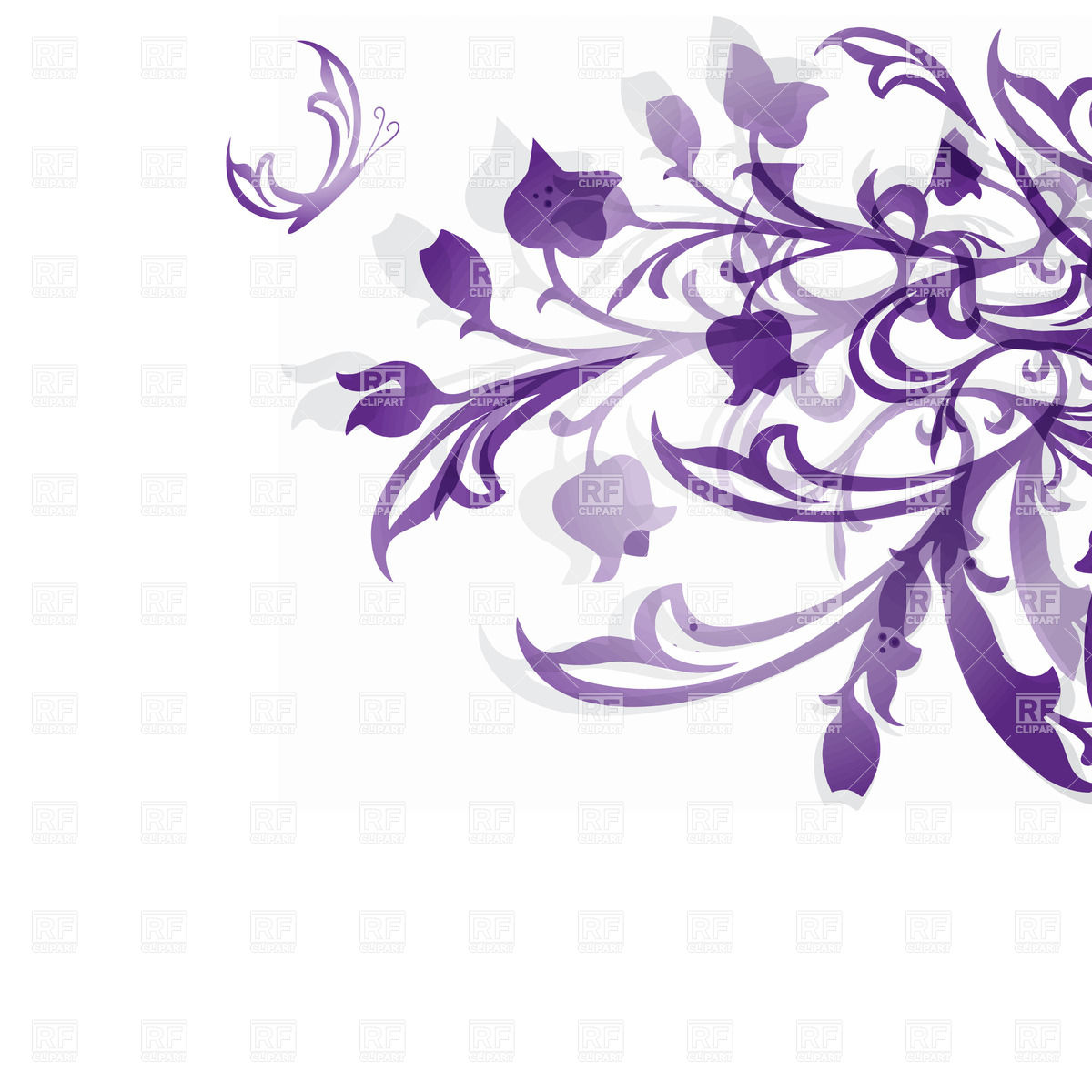 Violet hand drawn flowers on white background Vector Image #23610.