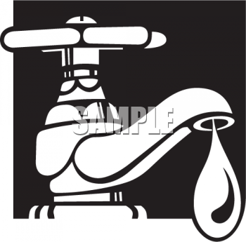 Royalty Free Clipart Image: Black and White Water Icon.