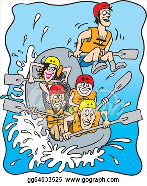 White water rafting clipart.