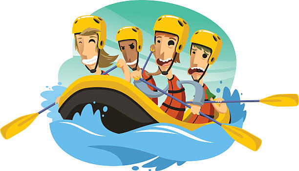 White Water Rafting Illustrations, Royalty.