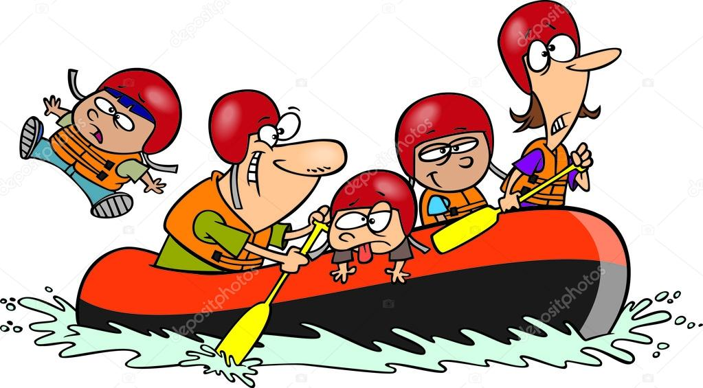 Cartoon Family Whitewater Rafting — Stock Vector © ronleishman #14001319.