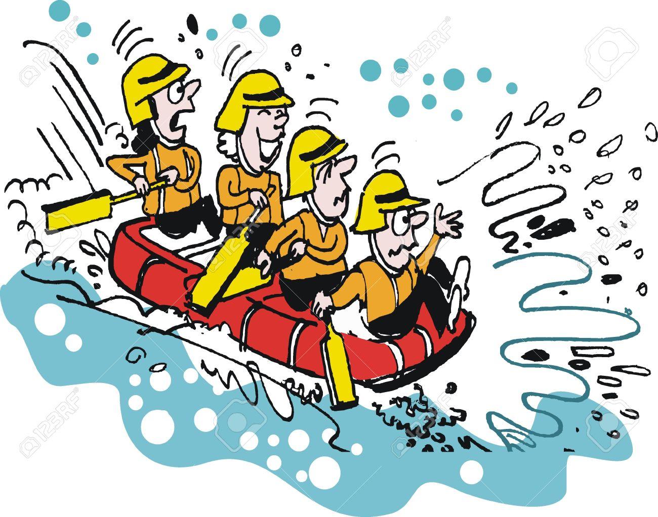 Vector cartoon of white water rafting people.