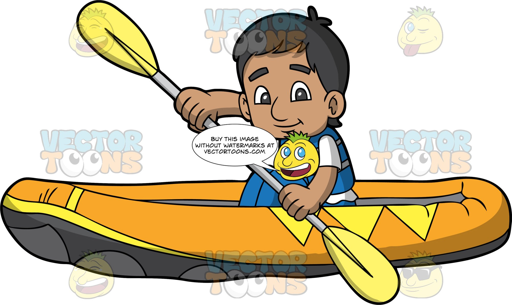 An Indian Boy Paddling His Raft Through Some Calm Water.