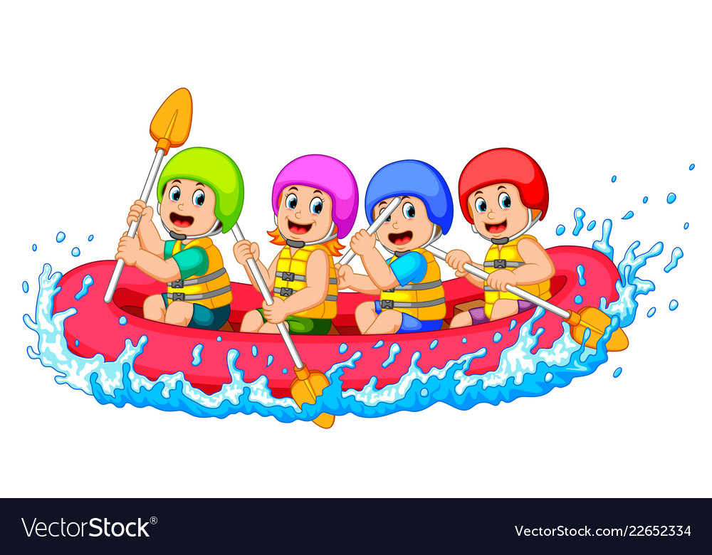 Happy rafting team in a river.