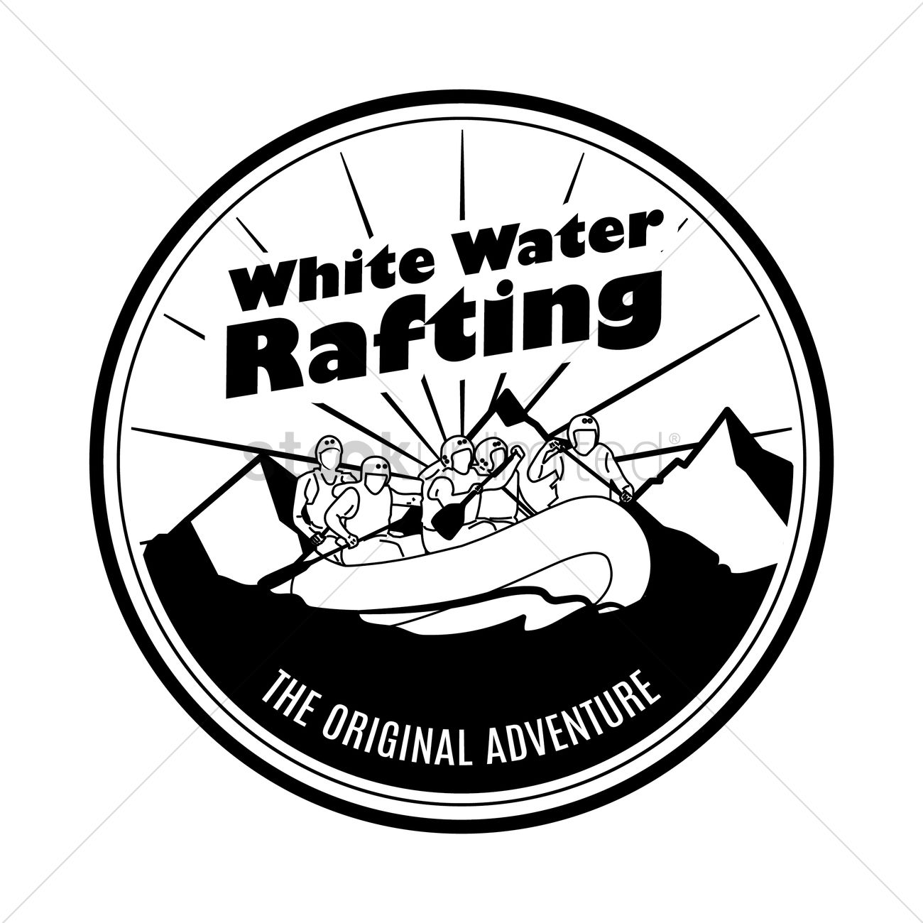 White water rafting label Vector Image.