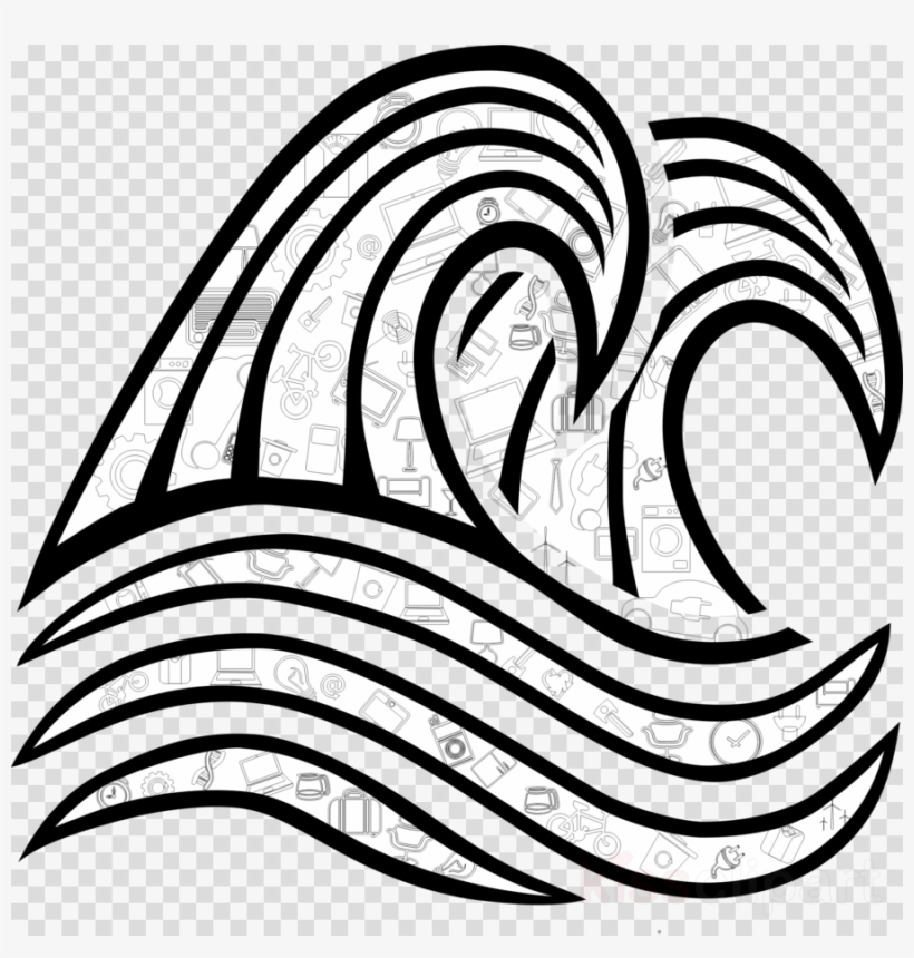 Download Png Of Black And White Waves Clipart Black.