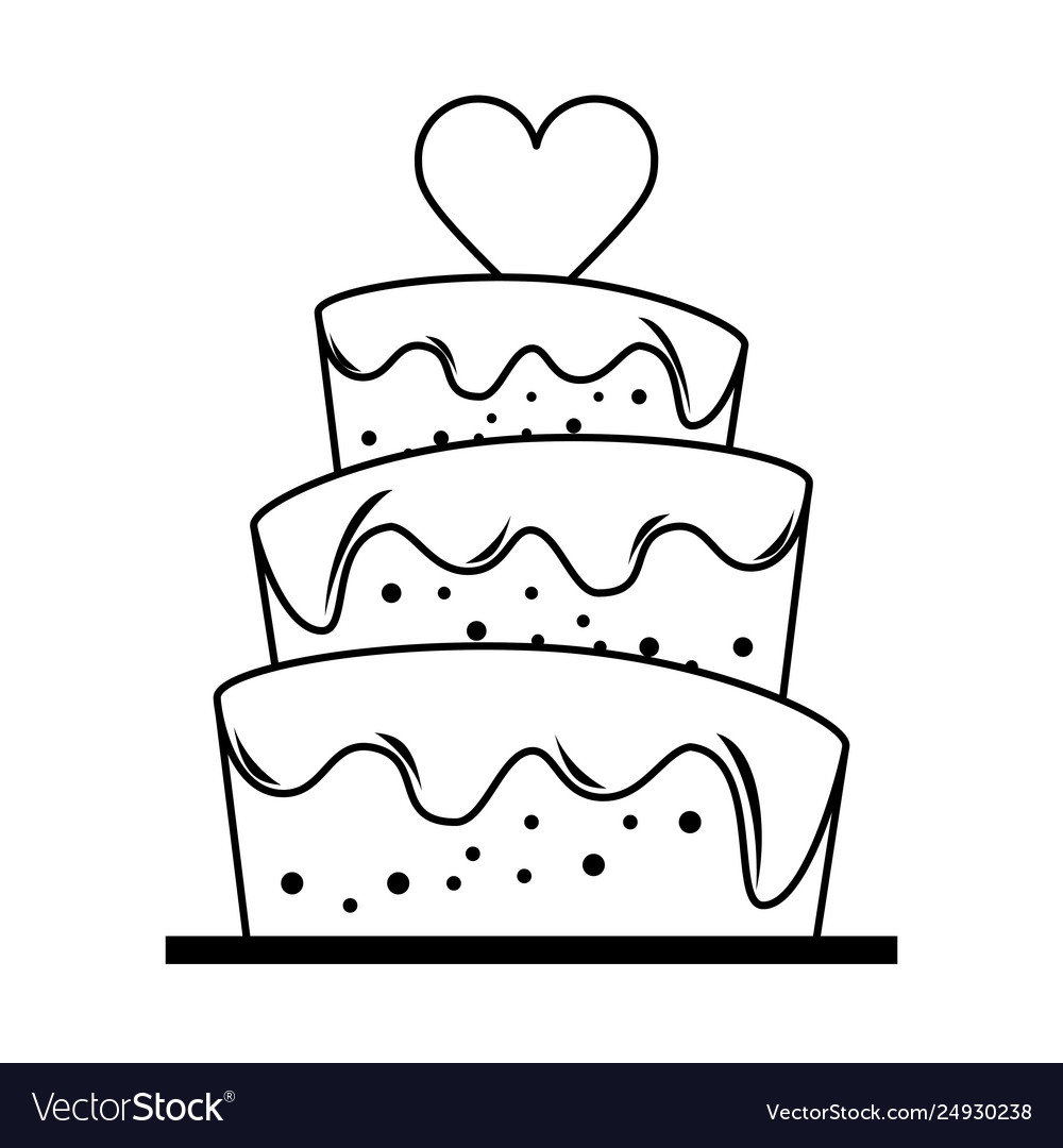 Wedding cake with heart cartoon in black and white.