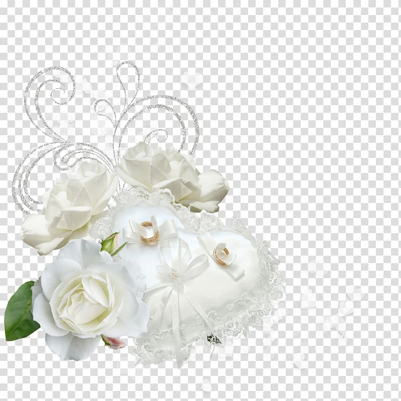 White rose and heart.