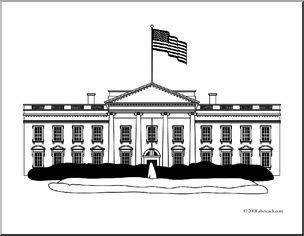 Clip Art: White House 1a (coloring Page).