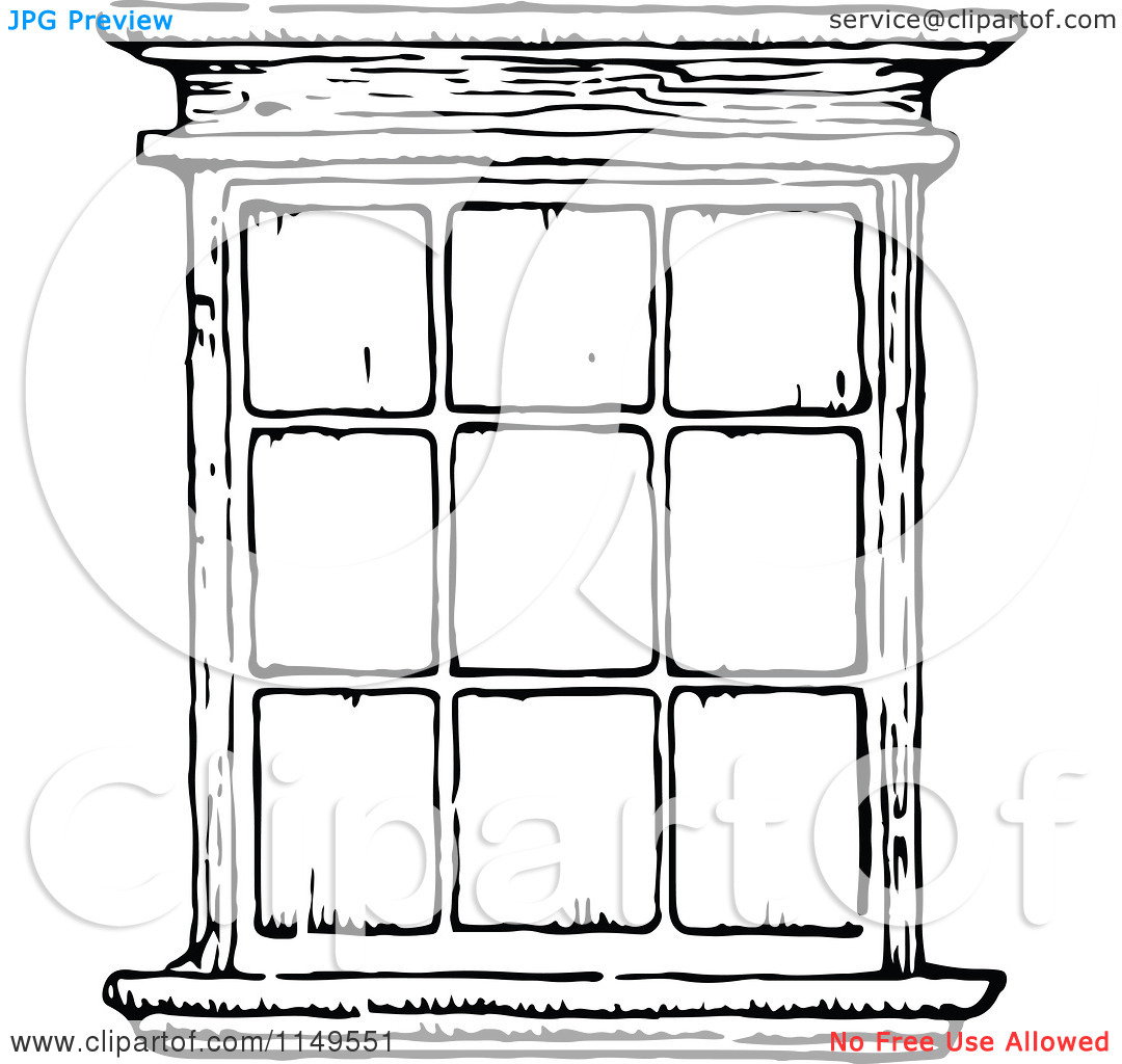 Clipart of a Retro Vintage Black and White Window.
