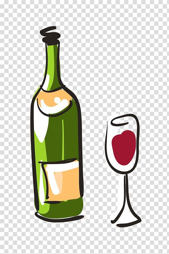 Red Wine Beer Coq au vin, cartoon hand.